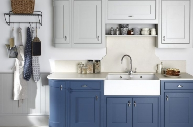 Bespoke kitchen Dark Blue Light Grey