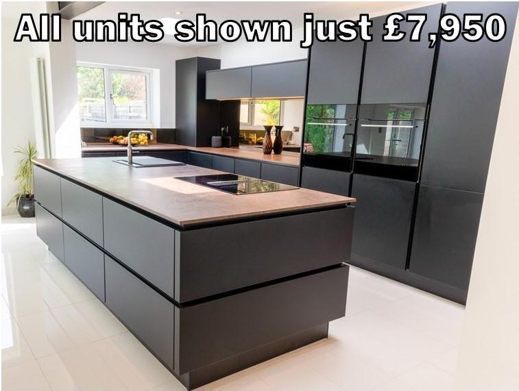 Black matt handleless kitchen 150.1