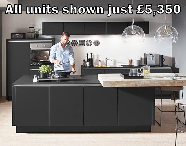 Black matt handleless kitchen 48