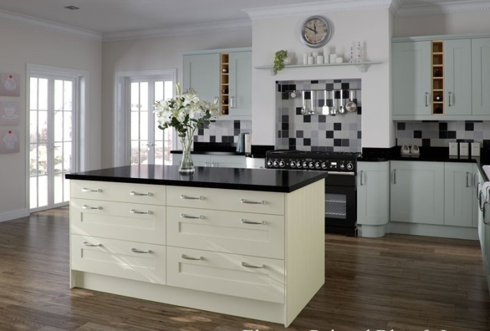 Contemporary smooth painted shaker kitchen blue and ivory