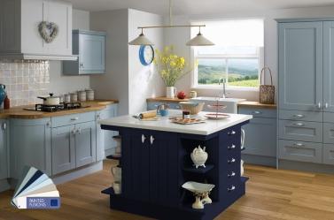 Country Kitchen Light Blue Dark Blue