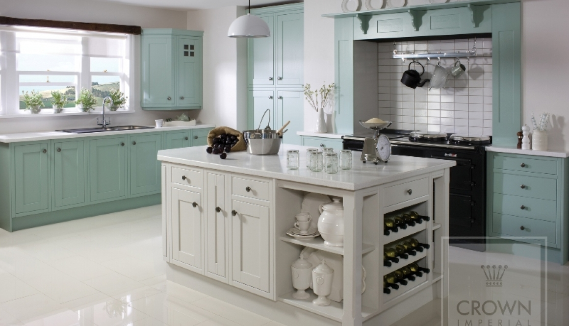 Country kitchen Green Blue & Off White