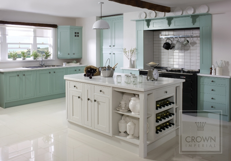 Country kitchen green blue off white for White country cabinets kitchen