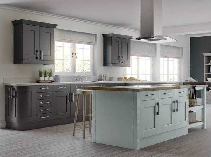 Country Kitchen Dark Grey Light Blue
