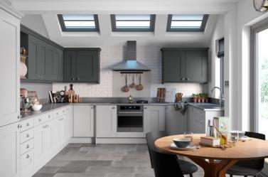 Country Kitchen Light Grey Dark Grey