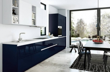 Dark Blue Gloss Kitchen