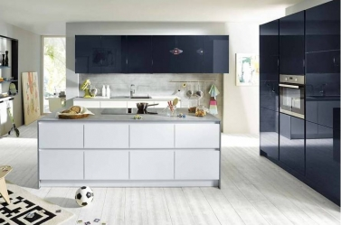 Dark Blue White Gloss Kitchen