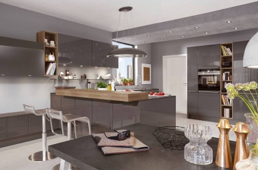 Dark grey gloss kitchen