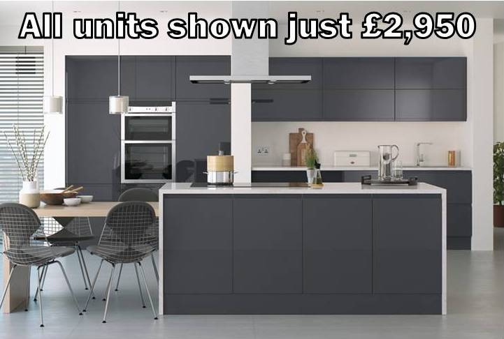 Gloss Kitchens - Dark grey gloss kitchen