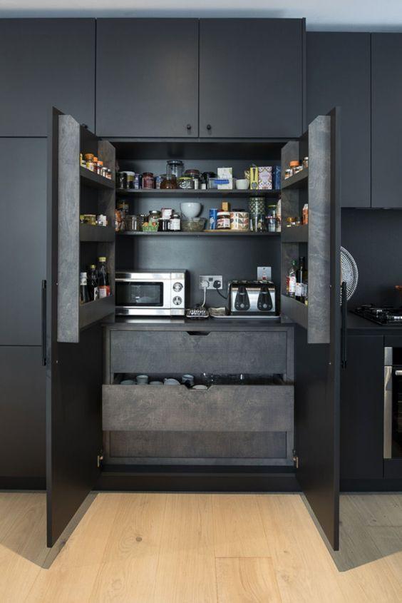 Dark kitchen with dark interior 2