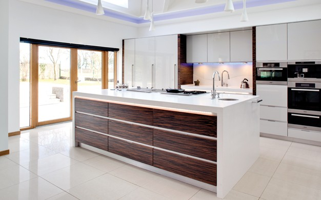 Designer Kitchen White Macassar