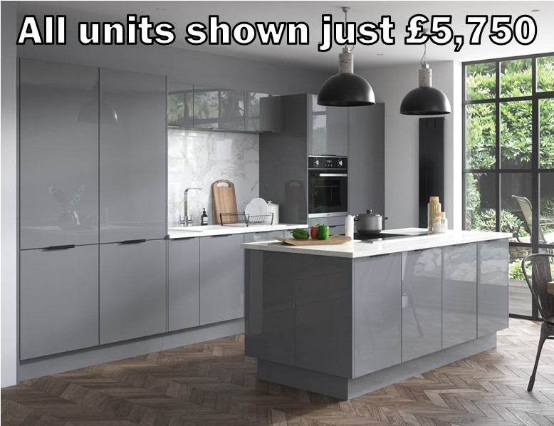 Dust grey gloss kitchen 2