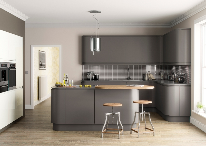 Grey Kitchens Dark Matt Handleless