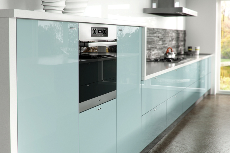 Light Blue Gloss Kitchen