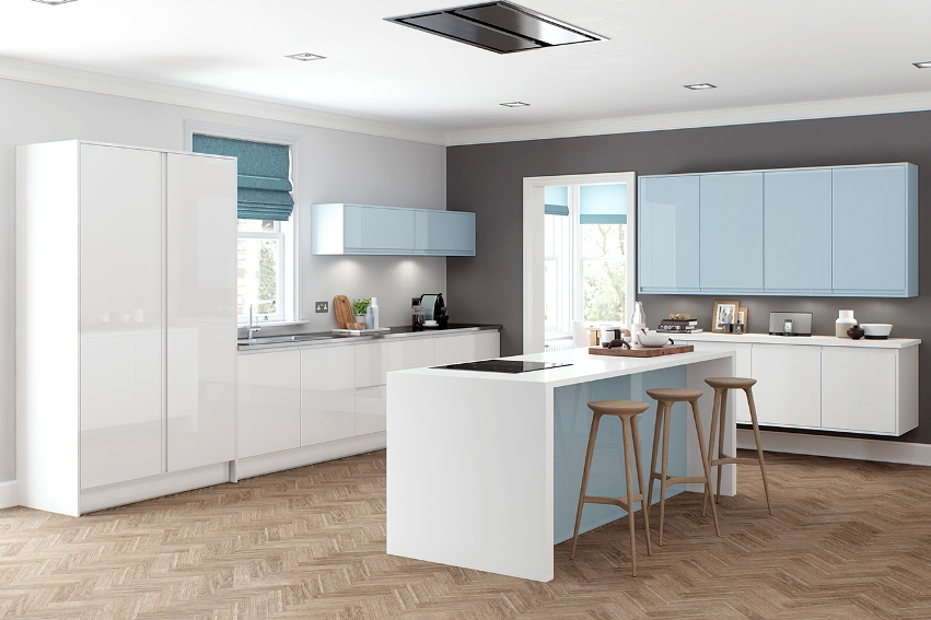 Light Blue White Gloss Kitchen