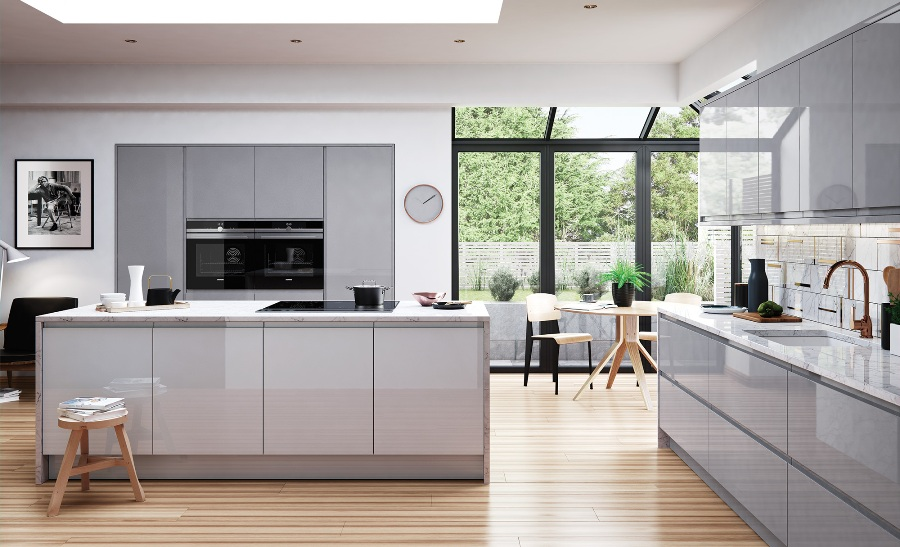 Light Grey Gloss Kitchen
