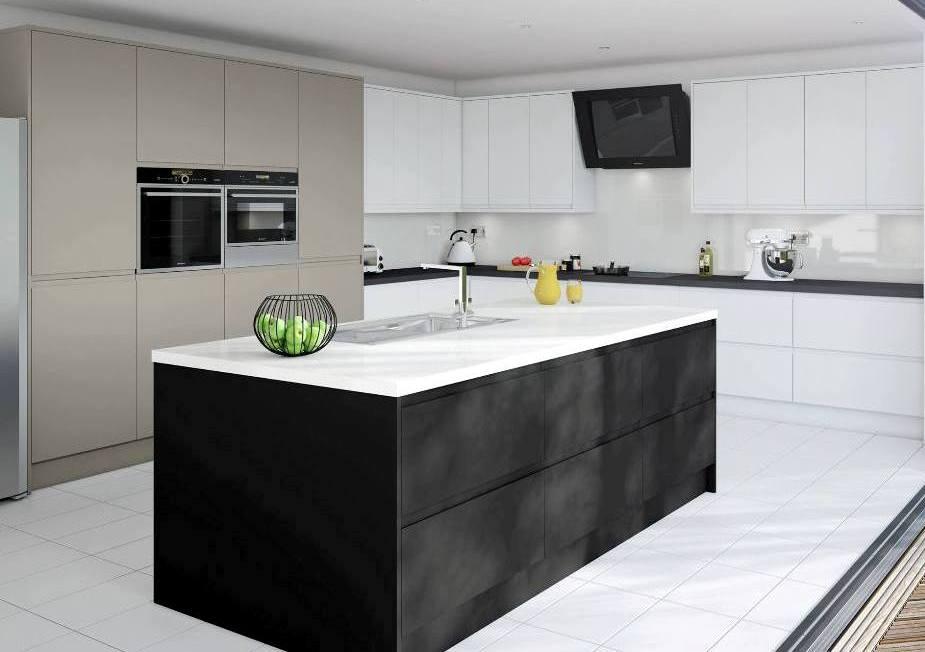 Matt Kitchen Black Brown Stone White