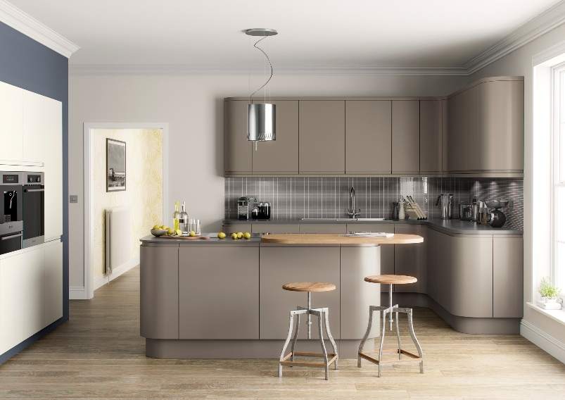 Matt kitchen brown grey for Grey and brown kitchen