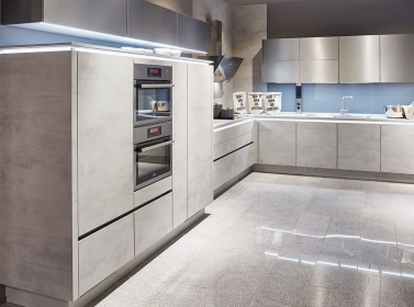 Matt Kitchen Concrete Brushed Steel
