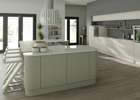Matt kitchen cream grey green kitchenfindr for Grey and green kitchen
