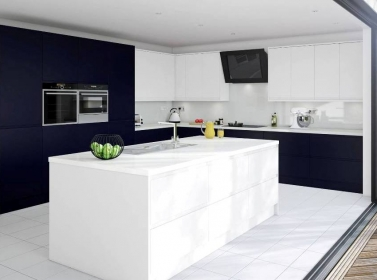 Matt Kitchen Dark Blue White