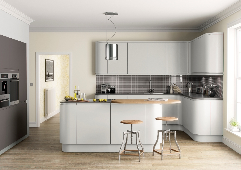 Matt kitchen light grey for Cocinas super baratas
