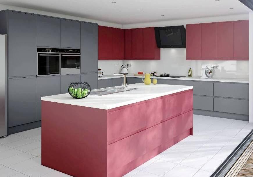 Matt Kitchen Red Grey