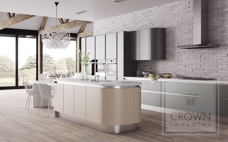 Matt kitchen grey cream 3 kitchenfindr for Cream and grey kitchen