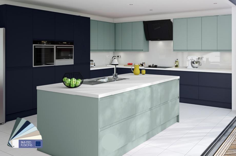 Matt Kitchen Green Blue Dark Blue