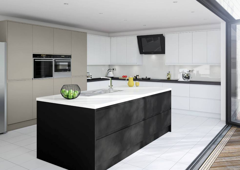 Matt Kitchen Black Brown Stone White
