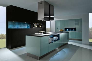 Ocean Blue Gloss Kitchen