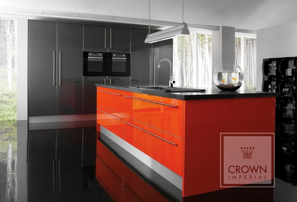 Gloss kitchens archives page 3 of 3 kitchenfindr for Dark orange kitchen