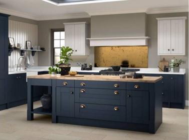Painted Kitchen Dark Blue