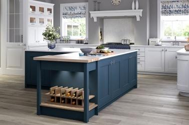 Painted Kitchen Dark Blue White