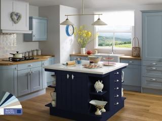 Painted Kitchen Light Blue Dark Blue