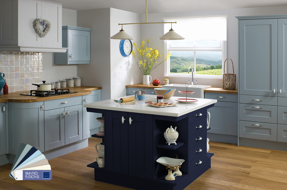 Painted Kitchen Light Blue Dark Blue