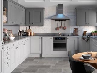 Painted Kitchen Light Grey Mid Grey