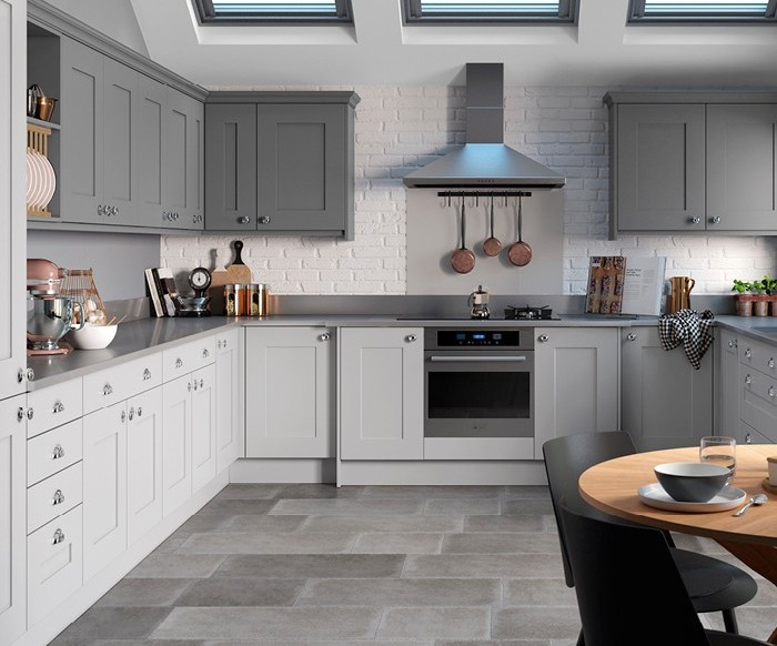 Painted Kitchen Light Grey Mid Grey