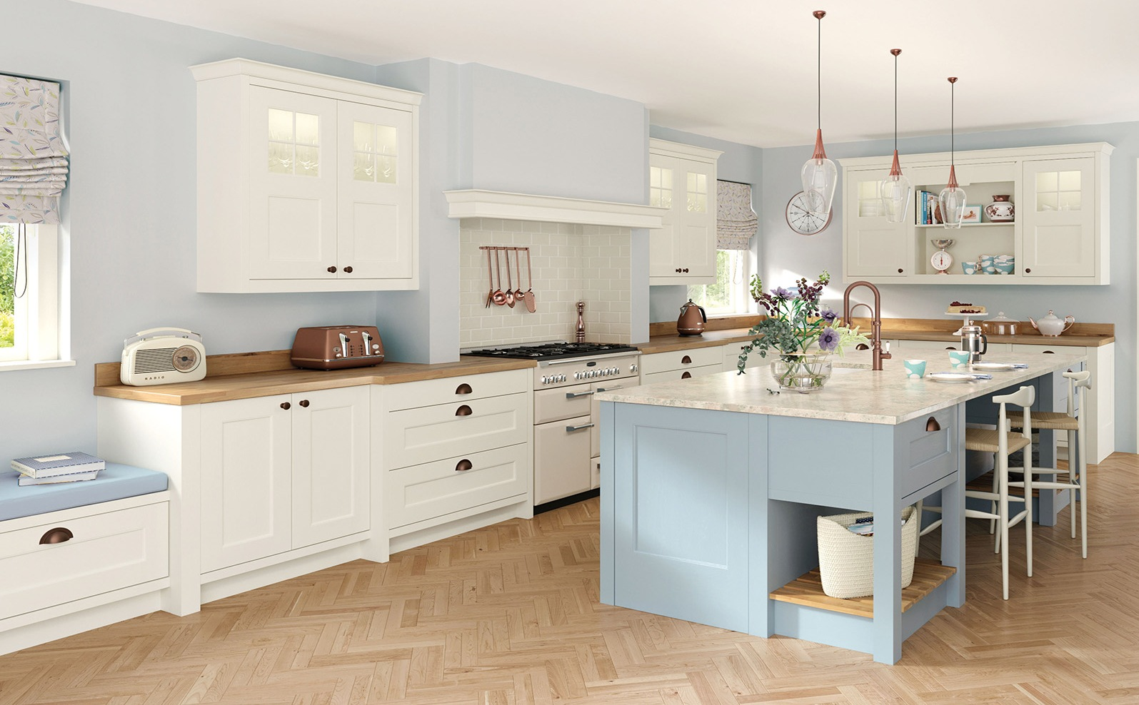 Painted Kitchen Porcelain Light Blue