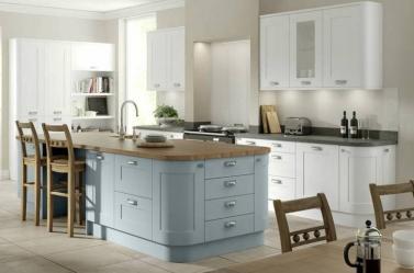 Painted Kitchen White Light Blue