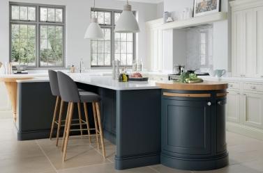 Painted Kitchen Dark Blue Cream