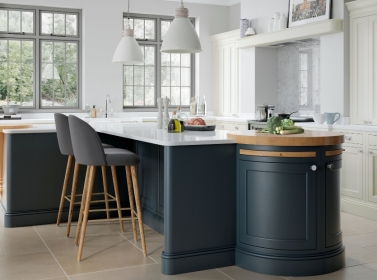 Painted Kitchen Dark Blue Cream