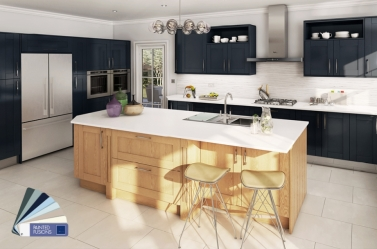 painted Kitchen Dark Blue Oak