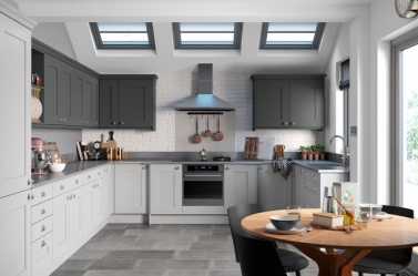 Painted Kitchen Light Grey Dark Grey