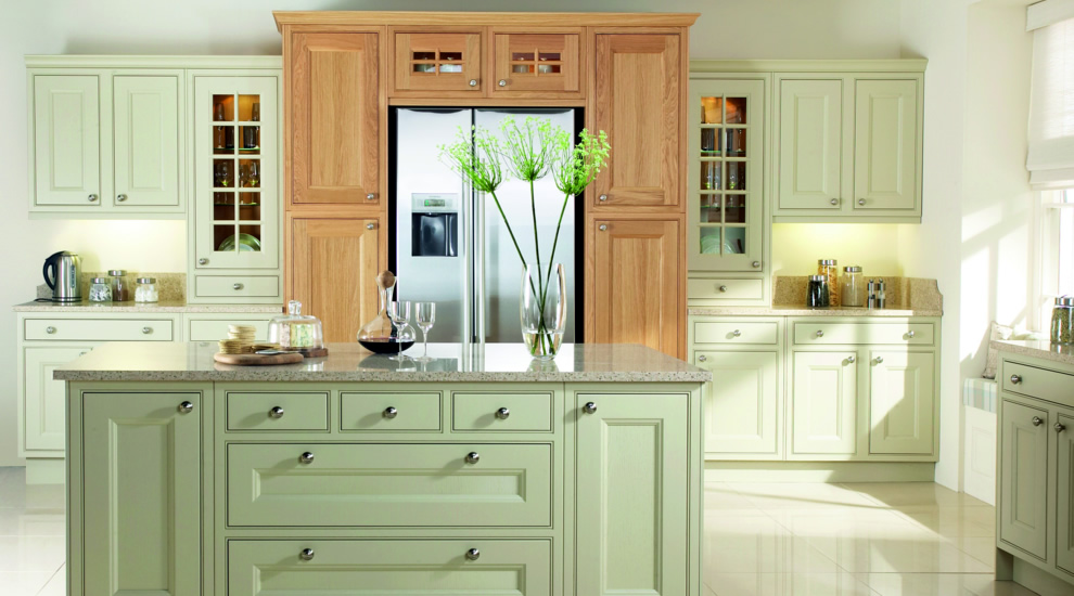 Painted Kitchen Green Oak