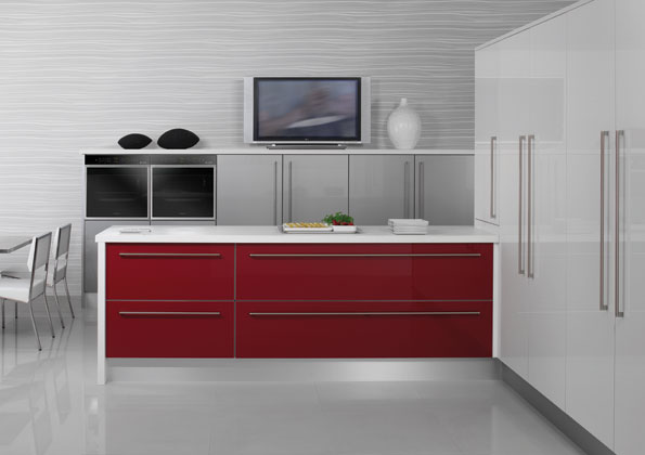 red white silver gloss kitchen kitchenfindr