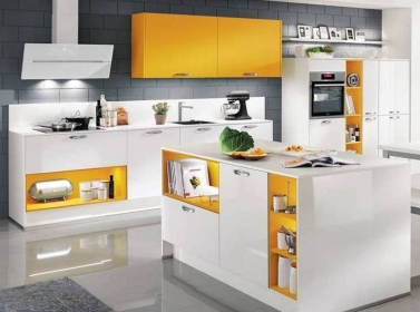 White Yellow Gloss Kitchen