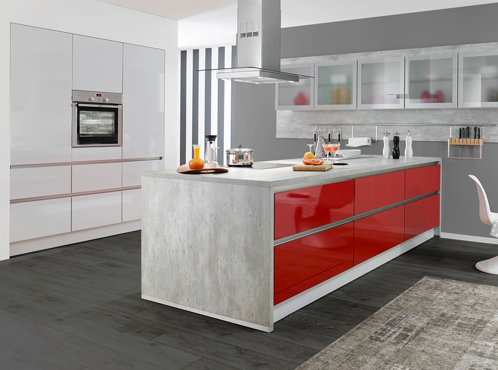 White Red Concrete Gloss Kitchen