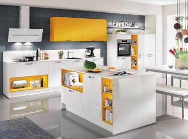 White Yellow Gloss Kitchen