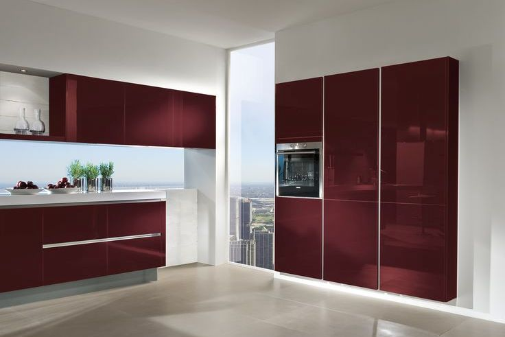 Wine red gloss kitchen HAC